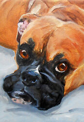 Fawn Boxer Art Custom Oil Painting Portrait Dog Small 5quot; x 7quot; Picture Artist