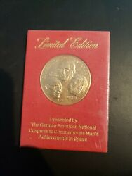 Coin Bronzed Commemorative First Moon Landing 1969 Space Rockets German American