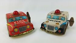 Japanese Tin Litho Toys Toy Hero Fire Cheif And Police Patrol Wind Up Cars
