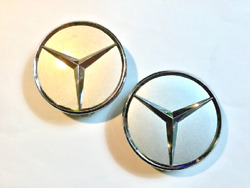 Two 2 Used Mercedes Benz Silver Chrome Emblem Center Hubcaps P/n 2204000125