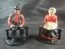 Vintage Cast Iron Bookend Amish Man And Woman Doorstop Husband Wife Farmer Rancher