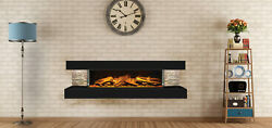 European Home Compton 1000 Black 60 Linear Wall Mounted Electric Fireplace
