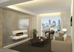 European Home Compton 2 White 44 Linear Wall Mounted Electric Fireplace W/ App