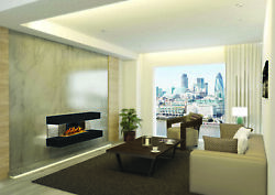 European Home Compton 2 Black 44 Linear Wall Mounted Electric Fireplace With App