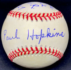 Paul Hopkins Died 2004 Psa/dna Signed Baseball Gave Up Babe Ruth 9th Hr 1927