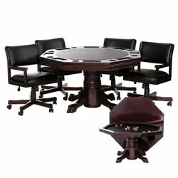 Level Best 54 Inch 3 In 1 Game Table Set With 4 Tilt-swivel Chairs
