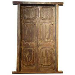 Antique Large Indian Painted Teak Paneled Double Door With Jamb 19th Century