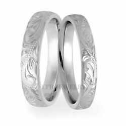 Hand Engraved 10k White Gold Matching Wedding Rings His And Hers Wedding Bands