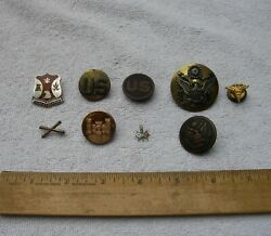 Lot 9 Pieces Vintage Us Military Badges And Buttons-ww Ii And Earlier