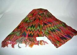 Marina D'este Collection Italy Women's Multi Color Zig Zag Wool Scarf, New 389