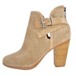 Vince Camuto Women's Sz 8.5 Perforated Tan Suede Booties Ankle Boots Shoes Nwob