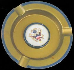 Wwii Era Hand Painted Us Army Officer Eagle Patriotic Ashtray Beautiful Military