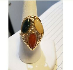 Ming's 14k Yellow Gold Tri-color Jade Ring