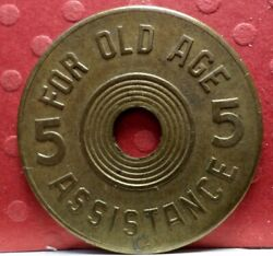 Consumerand039s Tax Token Oklahoma For Old Age Assistance 1937 To 1941 T-191