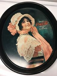 Vintage Coke Coca-cola Advertising Metal Oval Serving Tray Betty Girl Old