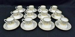 12 Wedgwood Florentine Gold Demitasse Coffee Cup And Saucer Sets W4219 Mint
