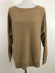 Lands' End Womens sz Large 14 16 Pullover Sweater Brown Camel Cable Knit Solid