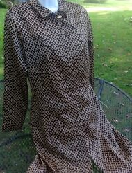 Vintage French Laundry by Neto Mod Shift Button Down Brown Link Dress Size 6 WoW