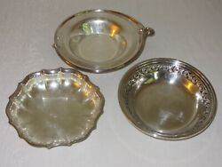 Lot Of 3 Silverplate Small Round Bowls Vtg Wm Rogers Chippendale Reed Barton
