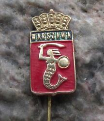 Antique Warsaw Poland Mermaid With Sword Heraldic Crest Coat Of Arms Pin Badge