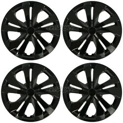 4 fits Nissan Versa 2007 2021 Black 15quot; Snap On Hub Caps Wheel Rim Full Covers