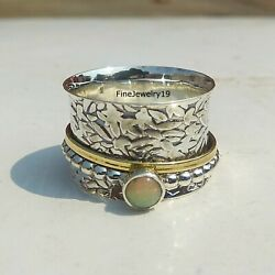 Opal Ring 925 Sterling Silver Spinner Ring Meditation Statement Jewelry A126