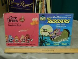 Care Bears Happiness + Disney's The Rescuers {lot Of 2} Book And 45rpm Records