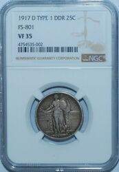 1917 D Ngc Vf35 Ddr Fs-801 Doubled Die Reverse Standing Liberty Quarter
