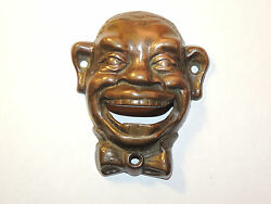 Brass Black Mans Face Bottle Opener Over 4 Inches Long Wall Mounted 12249