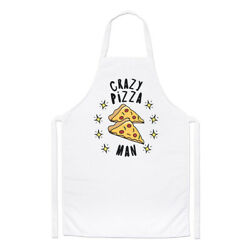 Crazy Pizza Man Stars Chefs Apron Fast Food Funny Joke Cooking Baking