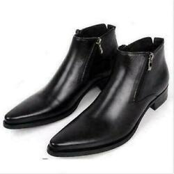 England Mens Pointed Toe Zipper Leather Formal Dress Shoes Casual Ankle Boot New