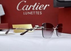 NEW CARTIER Panthere Rimless Sunglasses Occhiali platine Lunette Brille CT0120O