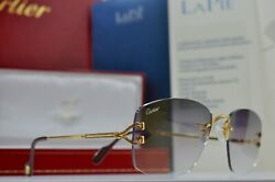 Vintage Cartier C DECOR DIAMOND ct. 0.50 RIMLESS Sunglasses Occhiali Lunette NOS