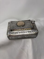 Fantastic Rare Antique Sterling Silver And Gold Lock Down Traveling Inkwell