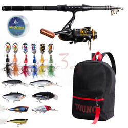 Telescopic Fishing Rod Reel Combos 10bb Line Spinner Lures W/bag Saltwater Bass