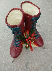 House Of Lloyd Music Box Ice Skates Holly And Berries Christmas Decoration 1997