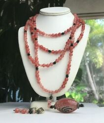 Sterling Silver 925 Vintage Pink And Black Beaded Necklace And Earring Set Lot 170.4