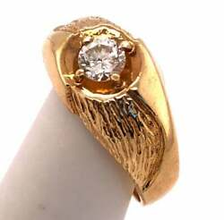 14 Karat Yellow Etched Gold Fashion Ring With Solitaire Round Diamond 101-195