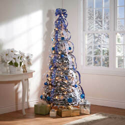 6-foot Fully Decorated Blue And Silver Bow Pull-up Collapsible Christmas Tree