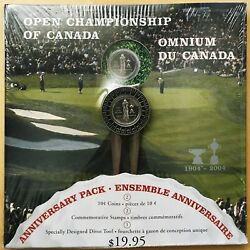 2004 Open Championship Of Canada Anniversary Pack W/10¢ Coin, Stamp, Divot Tool