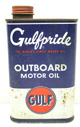 Vintage Gulf Oil Can Gulfpride Tin Metal 1 Quart Outboard Motor Oil Pumps Usa A