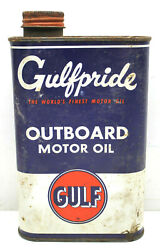 Vintage Gulf Oil Can Gulfpride Tin Metal 1 Quart Outboard Motor Oil Pumps Usa C