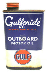Vintage Gulf Oil Can Gulfpride Tin Metal 1 Quart Outboard Motor Oil Pumps Usa D