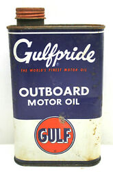 Vintage Gulf Oil Can Gulfpride Tin Metal 1 Quart Outboard Motor Oil Pumps Usa F