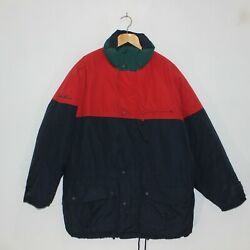 Vintage Eddie Bauer Down Insulated Puffer Jacket Size Large Color Block Blue Red