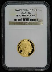 2008-W G$10 1/4 oz GOLD AMERICAN BUFFALO *NGC PROOF 70 ULTRA CAMEO* LOT#S690
