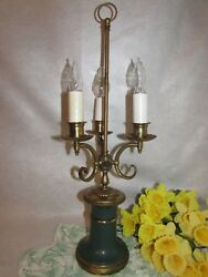 """Vtg Green W Brass 3 Arm Candlestick Candelabra Electric Parlor Table Lamp 25"""""""