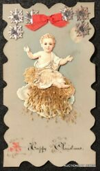 Die Cut Celluloid A Happy Christmas Card With Baby Jesus And Ribbon Attachment