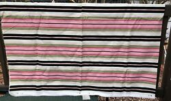 Vintage Upholstery Fabric Pink Green Black Stripes 2.5 yards