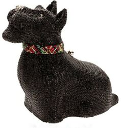 JUDITH LEIBER SCHNAUZER MINAUDIERE SCOTTISH TERRIER DOG SWAROVSKI CRYSTAL PURSE